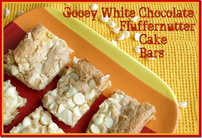 Gooey White Chocolate Fluffernutter Cake Bars |